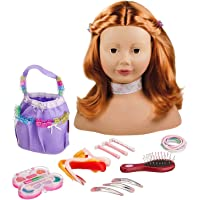 Götz 1192054 Styling head with red hair, brown eyes and accessories - make-up hair dressing head with 58 pieces…