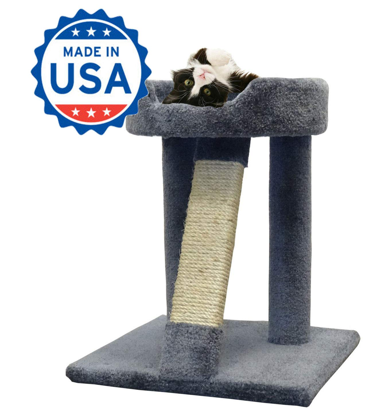 Cozycatfurniture 24 Inches Wood Cat Scratcher Made In Usa With Large Bed Unoiled Sisal Rope Pole Gray Carpet