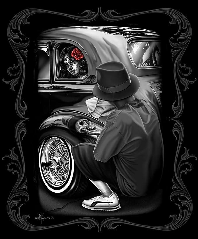 DGA Day of the Dead Rockabilly Skull Girl Last Dance Tin Metal Sign 12x16 Inch