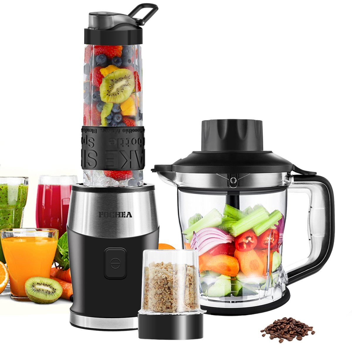 Fochea Pro Smoothie 3 in 1 Food Processor Multi-Function Kitchen System, 700W High Speed Blender/Chopper/Grinder with 570ml BPA-Free Bottle, Easy to Clean