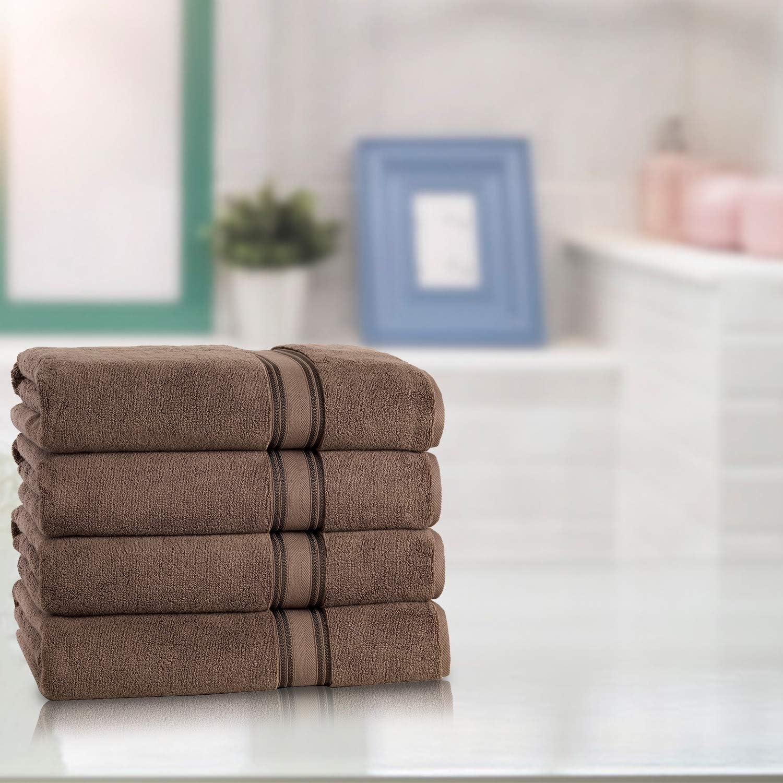 4 Piece Bath Towel Set, 100% Cotton, Zero Twist Premium Super Soft Fluffy Plush, Quick Dry Highly Absorbent Bathroom Shower Beach Spa Quality Bath Towel Set (Set of 4 Bath Towels, Chocolate)