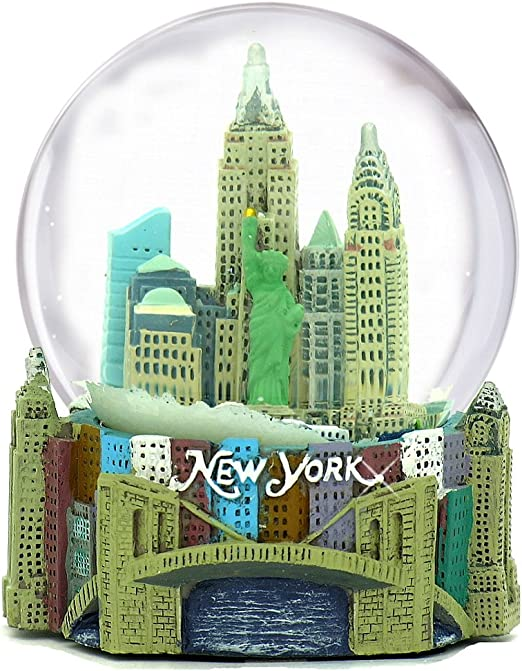 NEW YORK City-Souvenirs WG037 PLAYS NEW YORK 5.5 Inches Tall Musical New York City Snow Globe 100mm New York City Snow Globes