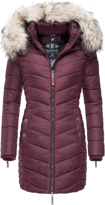 Navahoo - Cappotto invernale da donna Nimalaa 6, trapuntato, con cappuccio in pelliccia sintetica rimovibile, 6 colori, XS – XXL Rosso Vivo