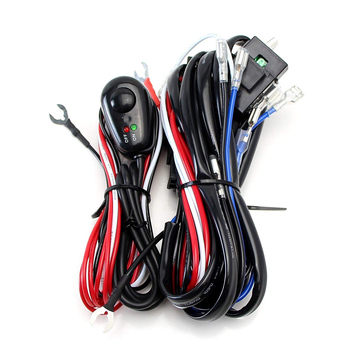 Amazon.com: iJDMTOY 4-Output Universal Fit Relay Harness Wire Kit with LED  Light ON/OFF Switch For Fog Lights, Driving Lights, HID Conversion Kit or  LED Pod ...