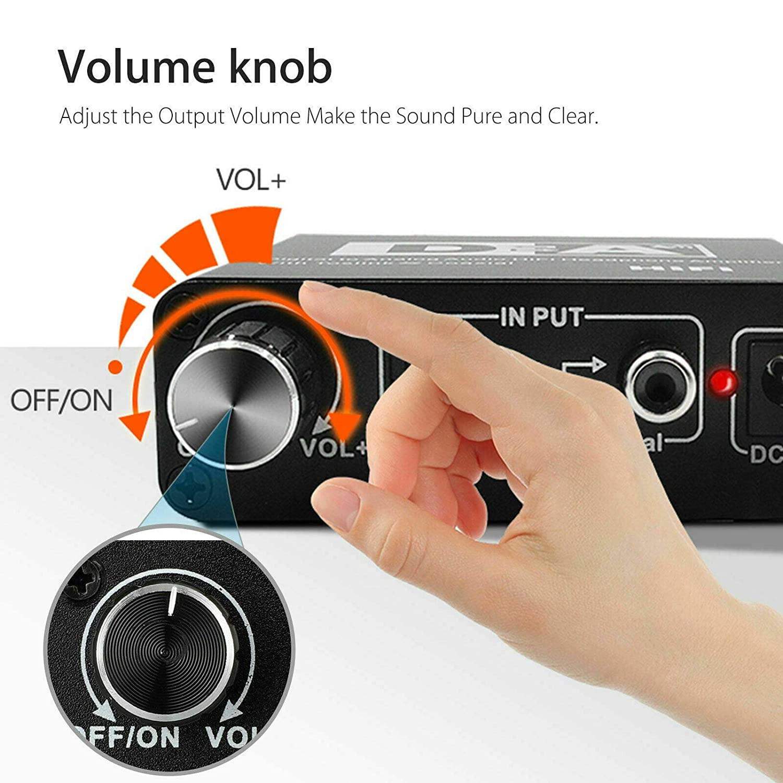 YTGOOD Industrial Business Supplies Digital to Analog Audio Converter HiFi 3.5mm Headphone Amplifier Toslink Optical Coaxial Output 192kHz//24bit