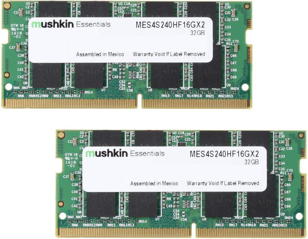 Mushkin Essentials – DDR4 Laptop DRAM – 32GB (2x16GB) SODIMM Memory Kit – 2400MHz (PC4-19200) CL-17 – 260-pin 1.2V Notebook RAM – Dual-Channel – Low-Voltage – (MES4S240HF16GX2)