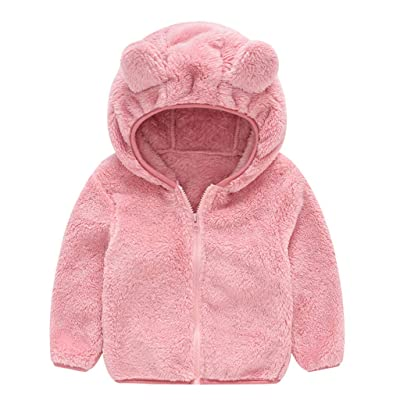 QGhead Toddler Baby Boys Girls Fuzzy Fleece Coat Winter Warm Bear Ear Hooded Sweatshirt Outwear Clothes: Clothing