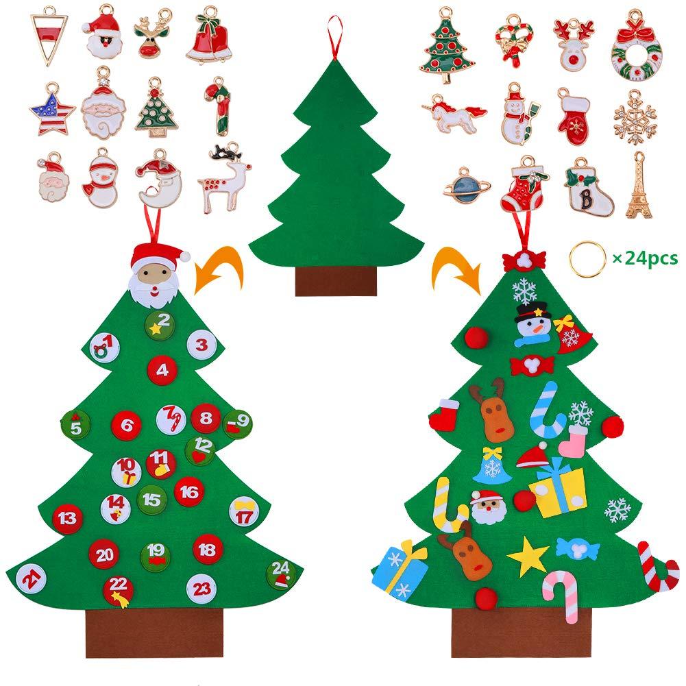 3.2FT DIY Felt Christmas Tree Advent Calendar with Pockets and Christmas Ornaments, 38pcs Detachable Christmas Ornaments Door Hanging Decor for Kid NAFURNO