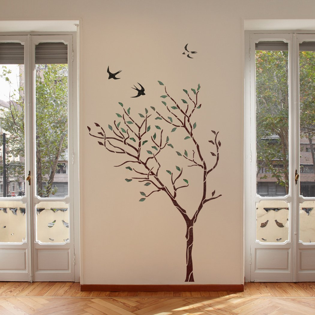 J boutique stencils large tree with birds wall stencil reusable j boutique stencils large tree with birds wall stencil reusable stencil for better than wallpaper amazon diy tools amipublicfo Gallery