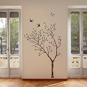 J BOUTIQUE plantillas gran árbol con pájaros pared plantilla ...