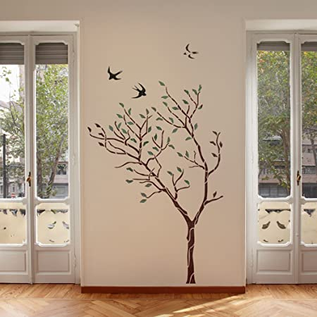 J Boutique Stencils Large Tree With Birds Wall Stencil Reusable