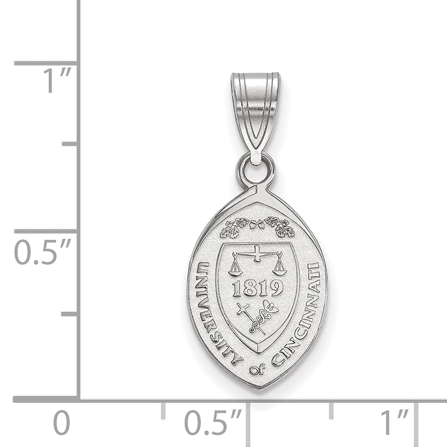 925 Sterling Silver Rhodium-plated Laser-cut University of Cincinnati Medium Crest Pendant