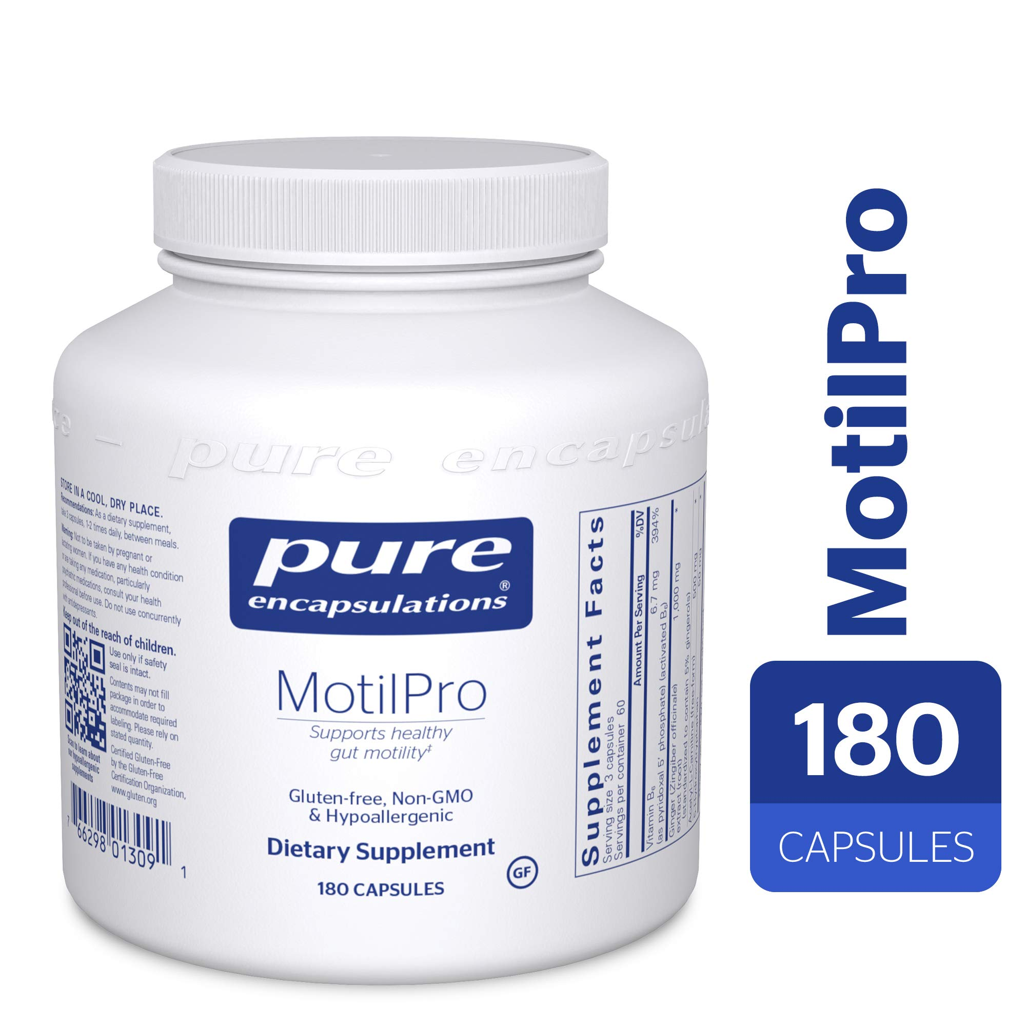 Pure Encapsulations - MotilPro - Hypoallergenic Dietary Supplement to Promote Healthy Gut Motility* - 180 Capsules by Pure Encapsulations