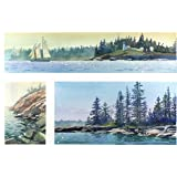 Maine--three Views, Giclee Print of a Seascape Watercolor Painting, Three Pictures of the Rocky Coast of Maine, 13 X 20 Inches