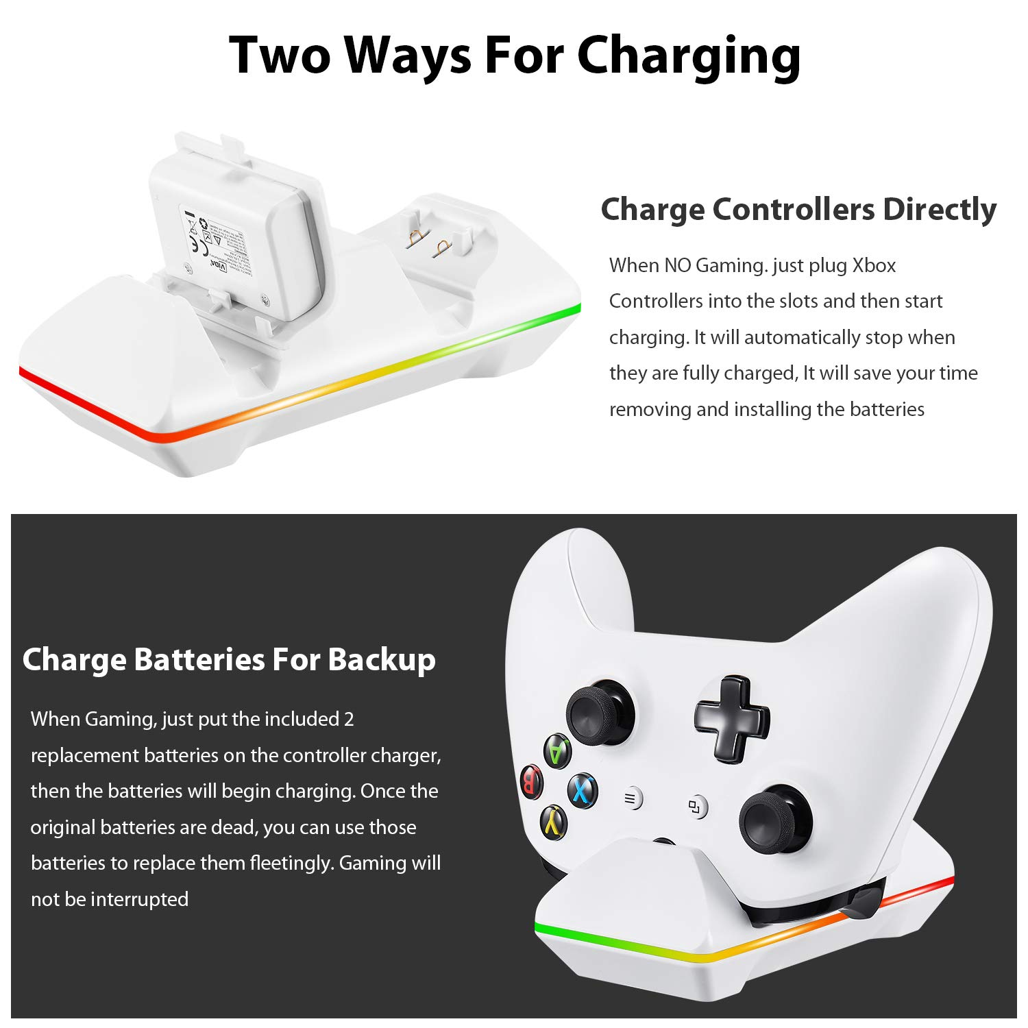 Xbox One Controller Charger, CVIDA Dual Xbox One/One S/One Elite Charging Station with 2 x 800mAh Rechargeable Battery Packs for Two Wireless Controllers Charge Kit- White by CVIDA (Image #2)