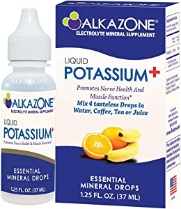 ALKAZONE Liquid Potassium+, Serving Size 4 Drops, 1 Pack Yields 10 Gallons of Potassium Enhanced Water, Liquid Supplements Have Faster Absorption Rate, Single Pack 1.25 oz