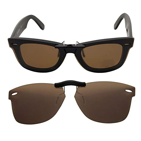 ccbd58493cb Custom Polarized Clip On Sunglasses for RAY-BAN RB5121 (47mm) 47-22-145 ( Brown) - - Amazon.com
