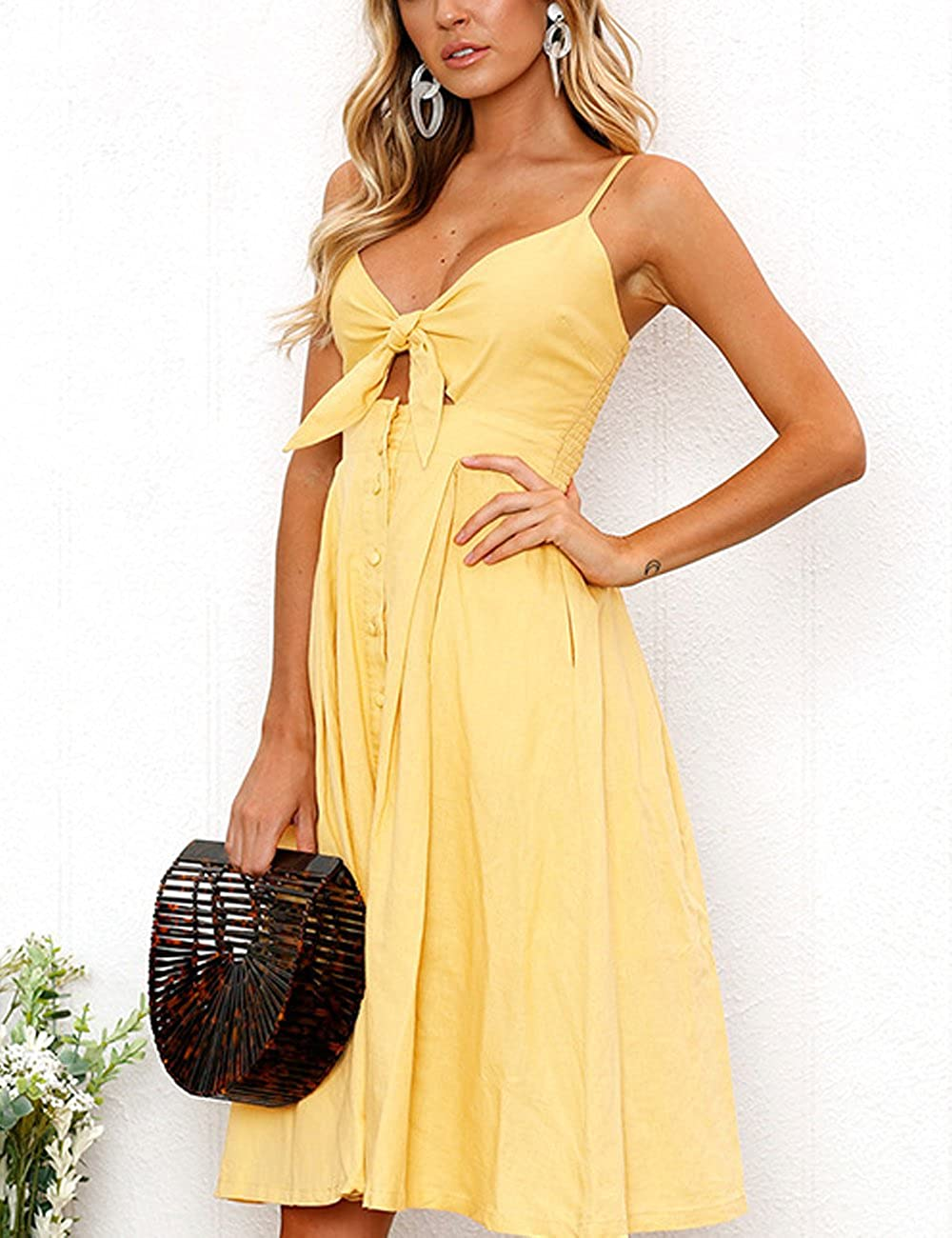 3aeea7918889 Summer Dresses for Women Sexy Fancy V-Neck A-line Maxi Dress for Ladies   Amazon.co.uk  Clothing