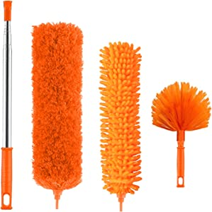 Microfiber Duster, Feather Duster Cleaning Kit with 100 Inch Telescoping Extension Pole, Reusable Bendable Dusters, Washable Lightweight Dusters for Cleaning Cobwebs Ceiling Fan
