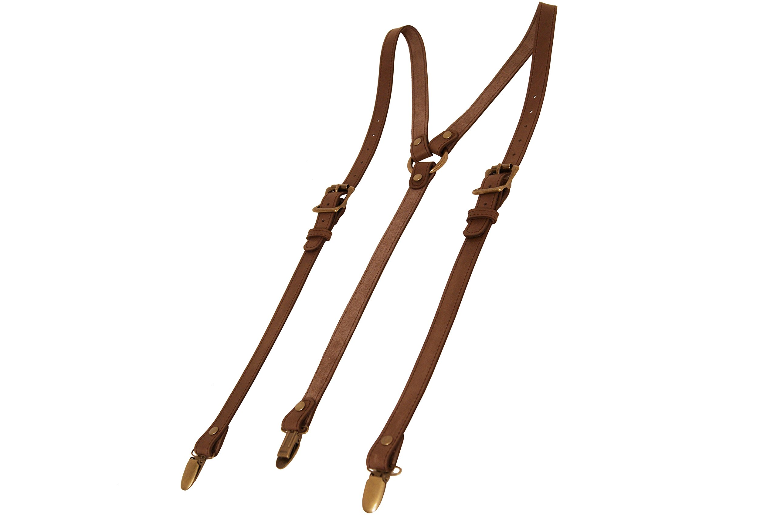 Project Transaction Men's Leather Suspenders M/L Dark Brown/Antique Suspender Clips