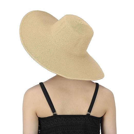 eee42366 HDE Tan Sun Hat for Women Tan Straw Beach Hat Tan Derby Hats Cap 50+ ...