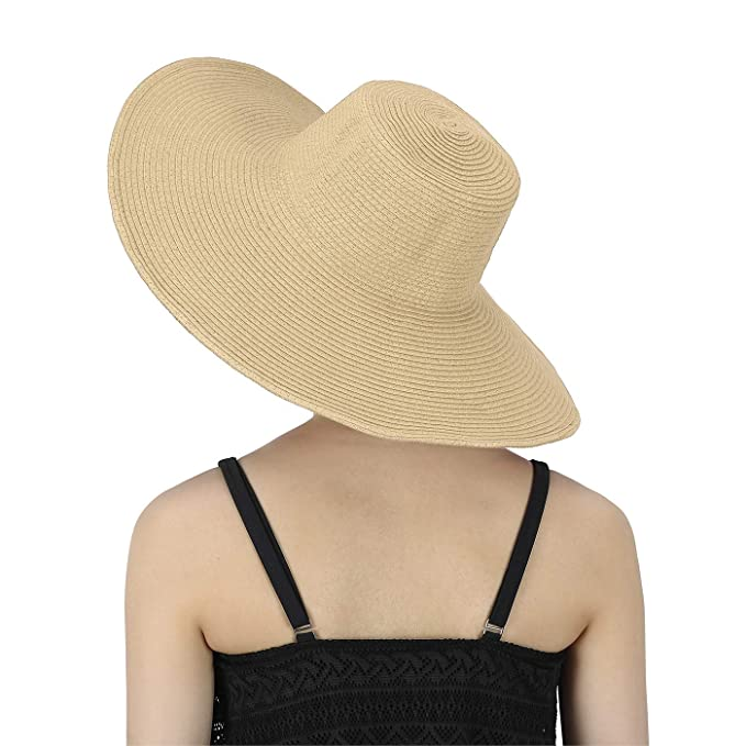 96faf660d2ba4 HDE Tan Sun Hat for Women Tan Straw Beach Hat Tan Derby Hats Cap 50+ ...