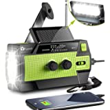 [2021 Newest] Emergency-Hand-Crank-Radio,4000mAh Portable Weather Solar Radios with Motion Sensor Reading Lamp,3 Gear LED Fla