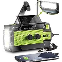 [2021 Newest] Emergency-Hand-Crank-Radio,4000mAh Portable Weather Solar Radios with Motion Sensor Reading Lamp,3 Gear…