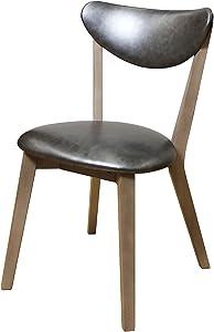 ACME Furniture Acme 72012 Rosetta Side Chair, Silver PU & Antique Beige (Set of 2)