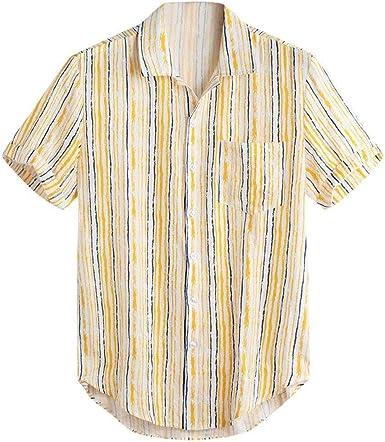 Tops De Rayas Coloridas De Verano Festiva Ropa De Camisas Algodón De Manga Corta 2019 Camisa De Ocio para Hombres Botones Holgados: Amazon.es: Ropa y accesorios
