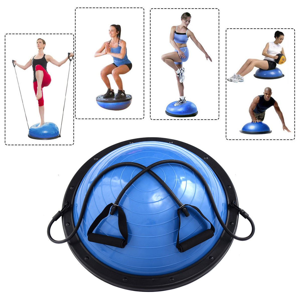 New 23'' Yoga Ball Balance Trainer Yoga Fitness Strength Exercise Workout w/Pump Blue