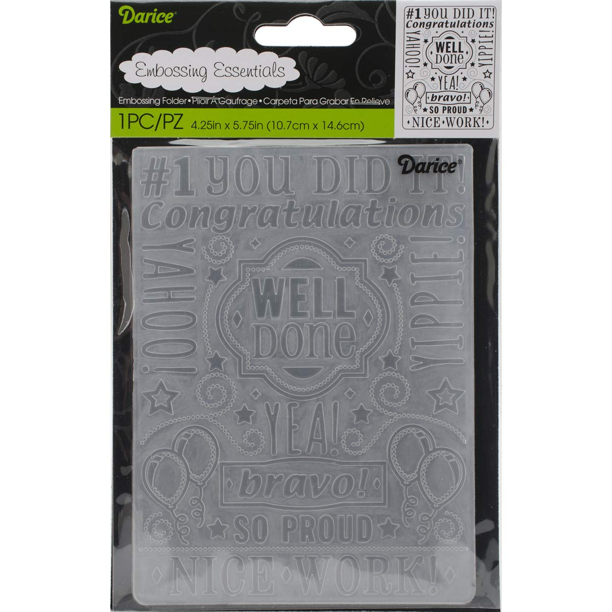 Embossing Folder Congrats Collage 4.25 X 5.75 Inches (8 Pack)
