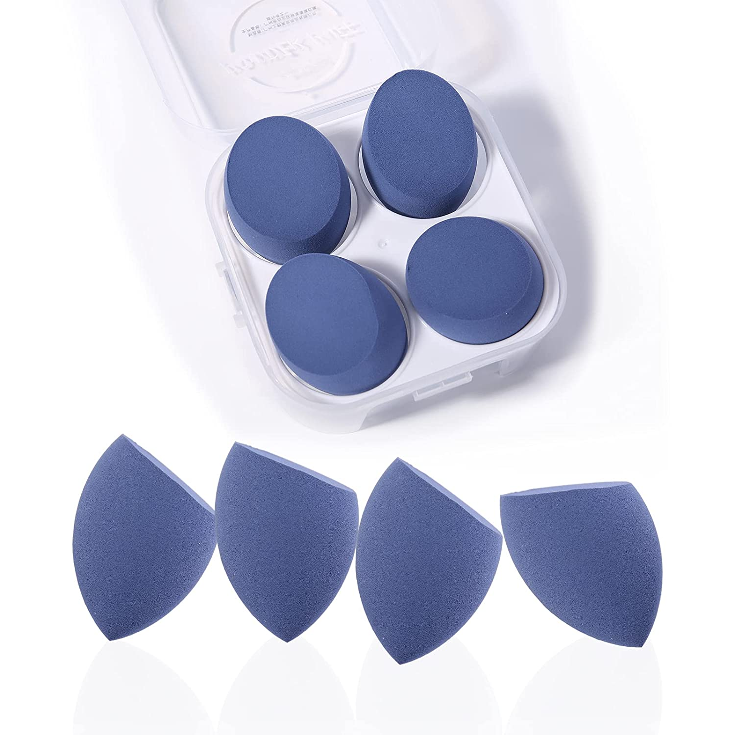 Makeup Sponges Beauty Blender Set 4 Pieces All Wedges&Flat-Sided Blenders for Makeup Foundation, Latex-Free No Smell Dry & Wet Use Case Packed