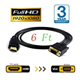 JBingGG HDMI to VGA Cable Adapter Converter Monitor D-SUB 15 Pin HDMI Gold Male to VGA Male Connector Cord Transmitter one-way transmission for Computer PC 6Ft (Black) (Color: hdmi to vga cable)