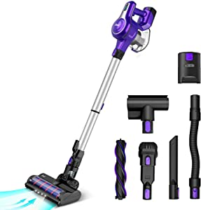 Cordless Vacuum Cleaner, 23Kpa 250W Brushless Motor Stick Vacume, Up to 45 Mins Max Runtime 2500mAh Rechargeable Battery, 10-in-1 Lightweight Handheld for Carpet Hard Floor Car Pet Hair,Violet-INSE S6