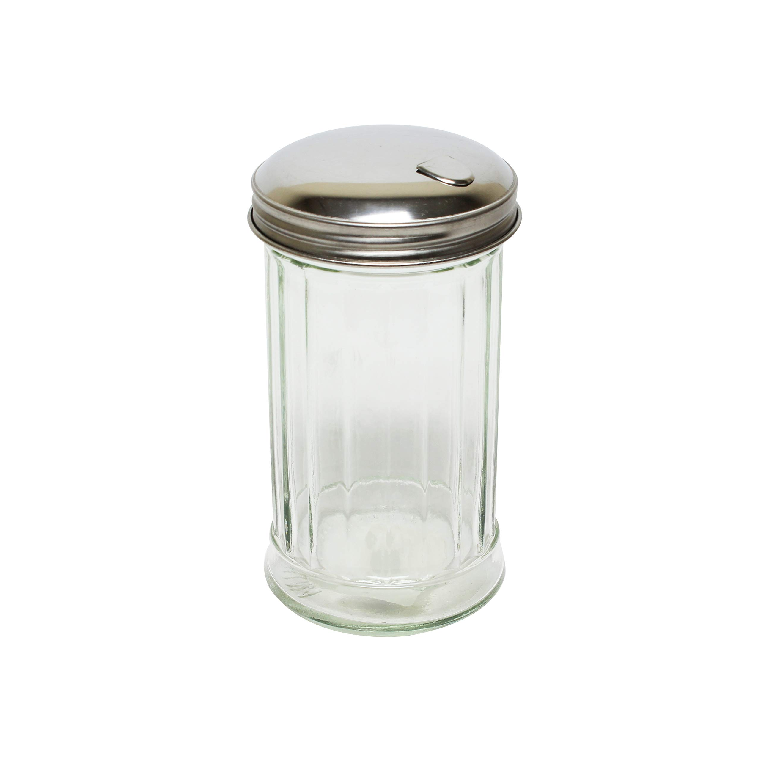 Thunder Group 12 oz sugar or cheese shaker, glass with stainless steel flip cap, comes in 2/ Pack by Thunder Group