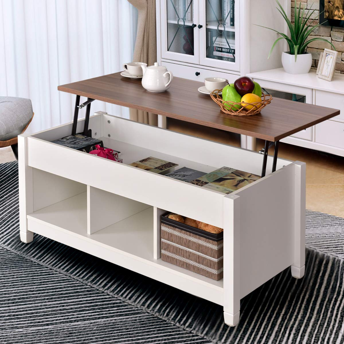 Amazon com tangkula coffee table lift top wood home living room modern lift top storage coffee table w hidden compartment lift tabletop furniture white