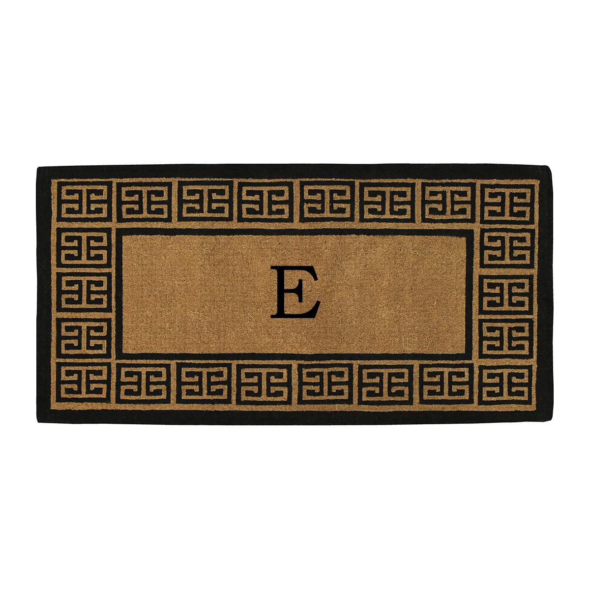 Home & More 180093672E The Grecian Extra-thick Doormat, 36'' x 72'' x 1.50'', Monogrammed Letter E, Natural/Black by Home & More