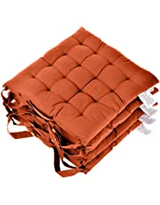 Homescapes Seat Pads for Dining Chair 100% Cotton Chair Pads with Straps, 40x40 cm