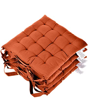 851a8563b13 Homescapes Seat Pads for Dining Chair 100% Cotton Chair Pads with Straps