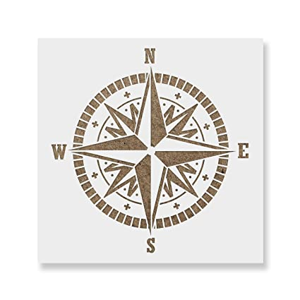 photo about Printable Compass named Comp Stencil Template - Reusable Stencil with Various Measurements Accessible