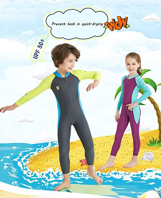 Niños traje de baño de una pieza Bañador para mujer de neopreno de UPF 50 + secado rápido manga larga traje de neopreno surf buceo vela, L=Height: 45