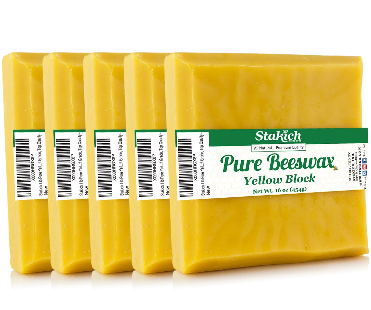 Stakich Pure Yellow Beeswax Block - 100% Natural, Craft Grade, Premium Quality - (5 lb (in 1 lb Blocks)) by Stakich (Image #1)