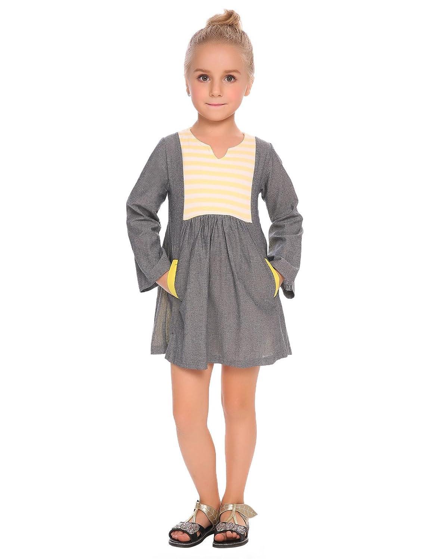 Goldenfox Little Girls Cute Tunic Dress Long Sleeve Fall top Ruffle Soft Shirt 90-130