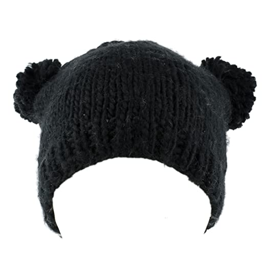 Amazon.com  Knitted Beanie Hat with Two Pom Poms (Black)  Clothing 109c538cbcf