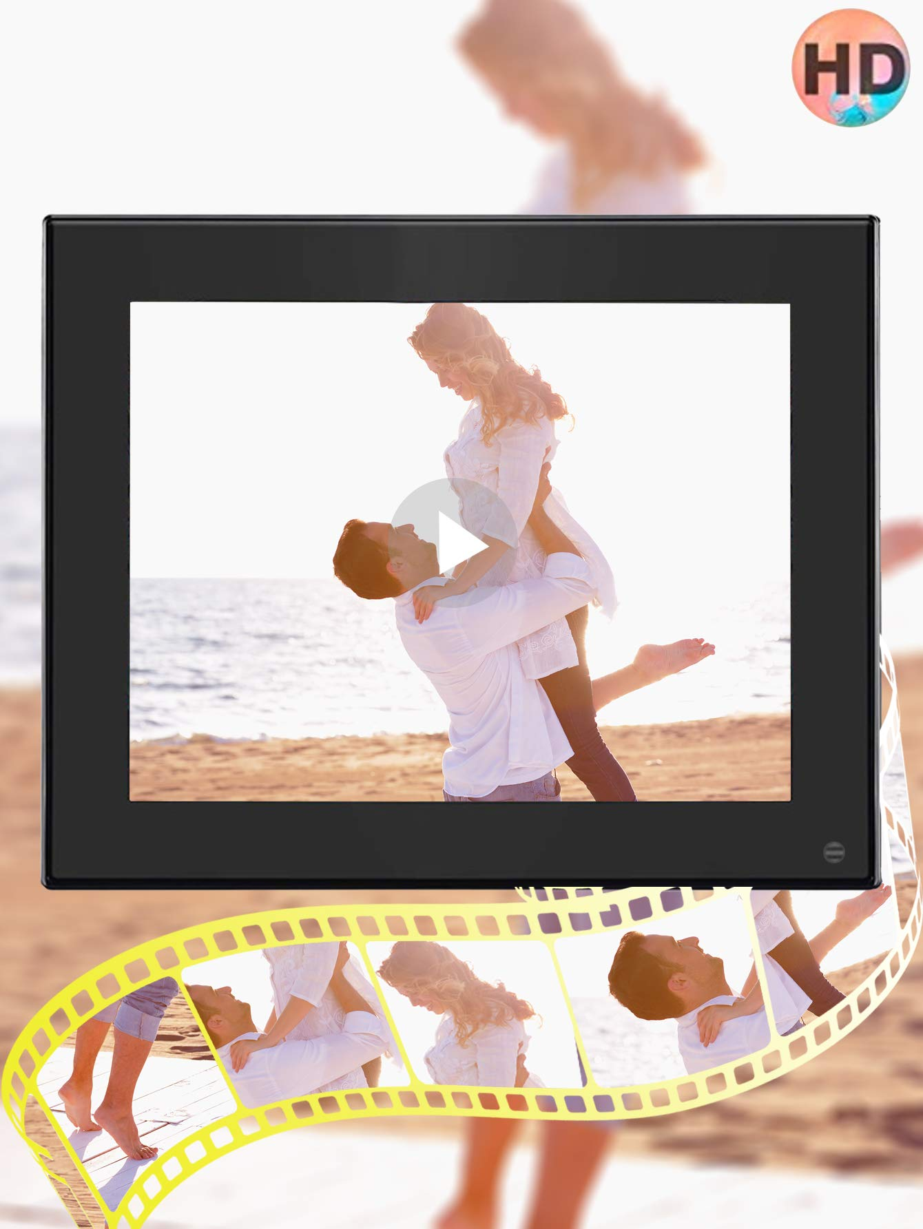 BSIMB Digital Photo Frame Digital Picture Frame 8 Inch 1024×768 Resolution Display with Calendar,Music,Video and USB,SD Card and Remote Control(M03 Black) by Bsimb (Image #4)