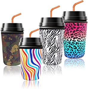 hatatit 4 Pack Reusable Coffee Cup Sleeve Neoprene Insulated Sleeves Cup Cover Holders, 2 Pieces 24oz Coffee Sleeve Cup Insulator and 2 Pieces 32oz Drinks Sleeve Holder for Cold Hot Beverages