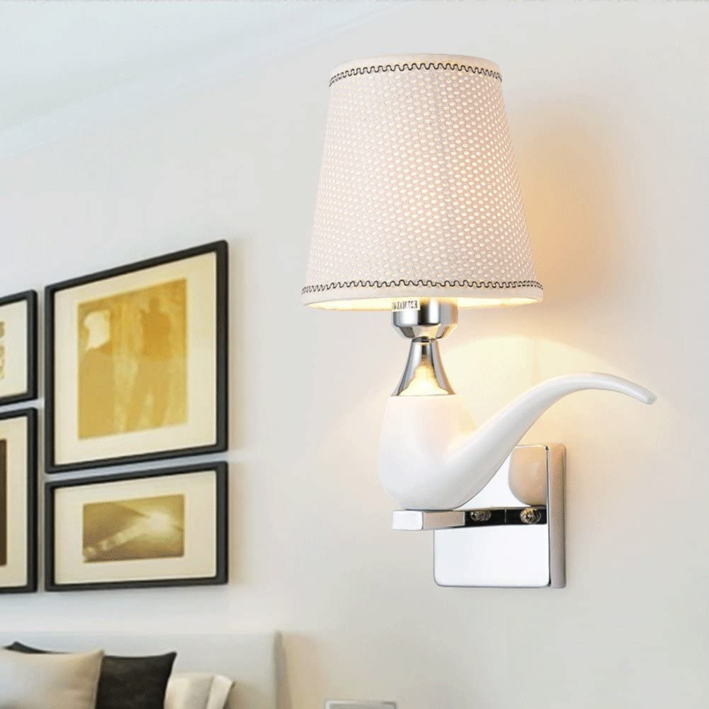 We&Zhe geführt Resin Tobacco Pipe Wall Lamp E24 Button Switch Wall Lamp Living Zimmer Corridor Aisle Bedroom Bedside Lamp,White