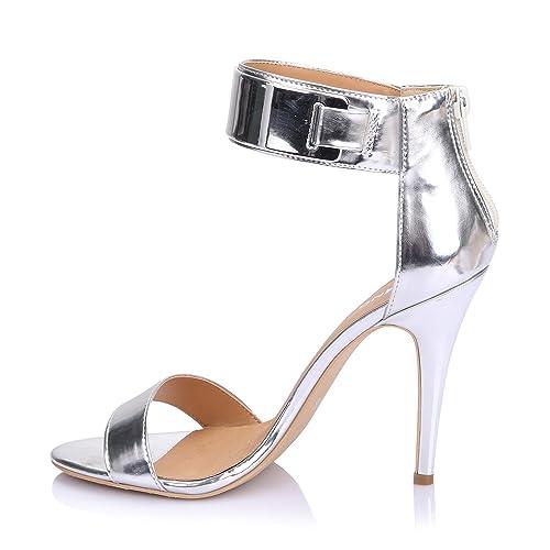 LiKing 23-002 Damen Sandalen Sandaletten High Heels Silber 40 ... 32452ed137