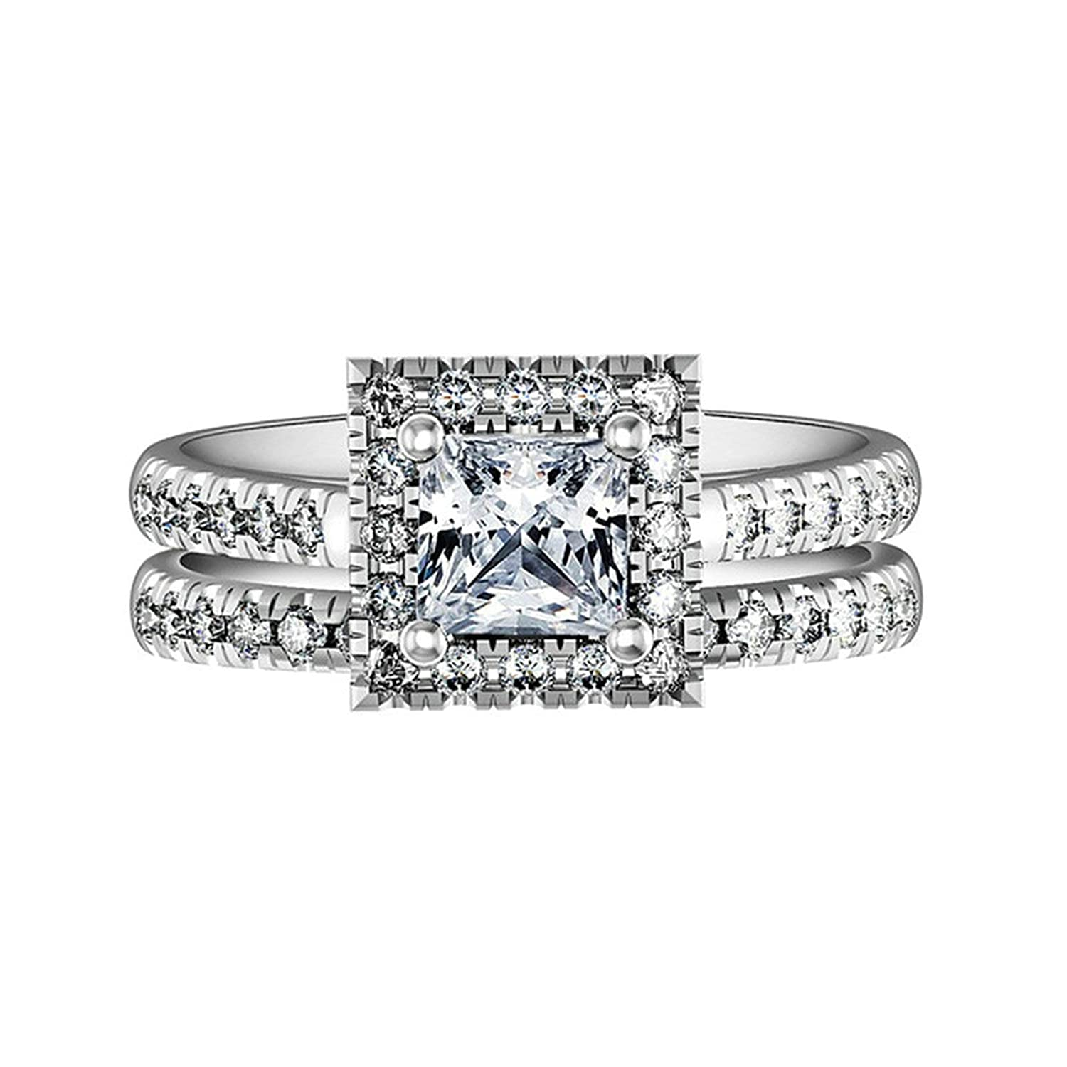 76d0495291ba3 Aooaz Jewelry Wedding Ring Silver Material 4 Prong Square Ring for ...